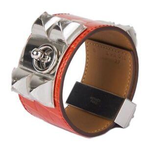 55281 auth HERMES Rouge Indien red CROCODILE COLLIER DE CHIEN Bracelet cdc