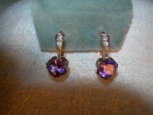 Gorgeous Estate 14K Pink Rose Gold White gold Diamond Amethyst Earrings