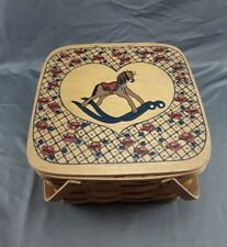 Vintage Basketville Putney Vermont Wood Woven Picnic Basket W/Handles & Insert