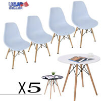 5 Piece Wooden Dining Table Set 4 Chairs Metal Kitchen Room Breakfast Furniture
