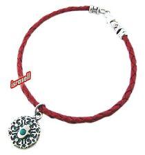 RED LEATHER BRACELET WITH HAMSA & BLESSING - Khamsa Protection Hand - Kabbalah