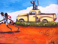 """AFL finals  art print painting outback aboriginal landscape footie canvas 36"""""""