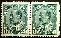 Canada #89 1c Green 1903-08 King Edward VII VF *MLH* Horiz Pair Fresh