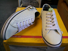 Mens Size 8 White Perforated Punch White Lace Up Shoe with Black Striping