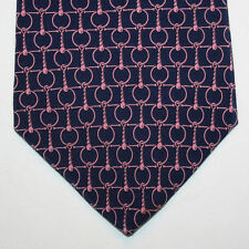 NEW Brookville Silk Neck Tie Dark Blue Navy with Pink Chain Pattern 1006