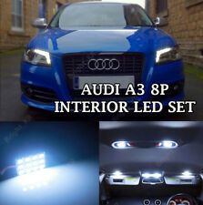 AUDI A3 8P 2003+ COMPLETE WHITE INTERIOR LED LIGHT UPGRADE SET KIT ERROR FREE