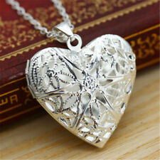 Women Living Memory Float Silver Plated Heart Locket Pendant Chain Necklace Gift
