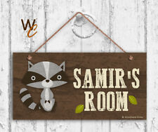 Raccoon Sign, Personalized Sign, Kid's Name, Kids Door Sign, Animal 5x10 Sign