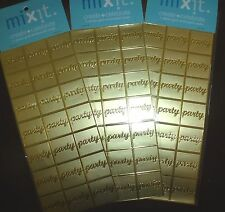 63 Gold PARTY Stickers Acid Free Card Making Invitation Envelope Seals square