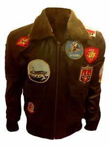 TOM CRUISE TOP GUN A2 MEN BOMBER JACKET FIGHTER AIR FORCE AVIATOR LEATHER JACKET