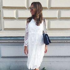 S New Women's All Lace Sheer Bohemian Beach Wedding Party Crochet Gown Dress S
