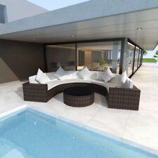 Garden Half-round Sofa Outdoor Furniture Set 21 Pieces Poly Rattan Brown UK