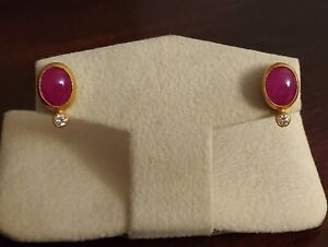 Gurhan gold earrings with rubies and diamonds