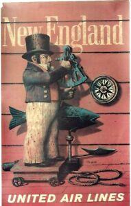 Original vintage poster NEW ENGLAND SAILOR NAVIGATION UAL c.1960