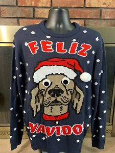 H&M FELIZ NAVIDOG Funny Ugly Christmas Xmas Holiday Sweater Sweatshirt Mens Sz S
