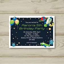 10 Personalised Birthday Party Invitations Space Rocket Ship Envelopes
