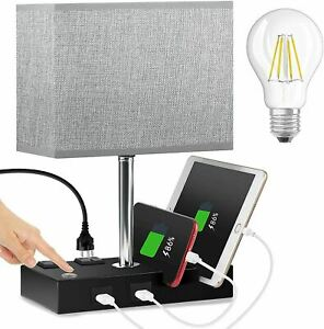 USB Table Lamp,Touch Control Bedside Lamp with 2 Charging USB Port-Bulb Included