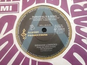 """GRAHAM LOWNDES A RADIO STATION PROMO SURVIVAL'S SONG 45 7"""" ALBERT PRODUCTIONS"""