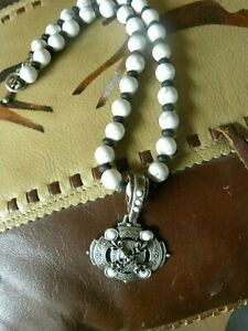 FRENCH KANDE WHITE TURQUOISE, JET, NECKLACE & SILVER  MEDALION PENDANT