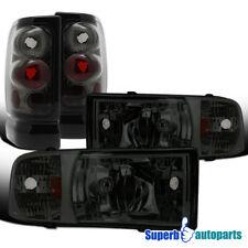 For 1994-2001 Dodge Ram 1500/2500/3500 Headlights+Tail Brake Lamps Smoke
