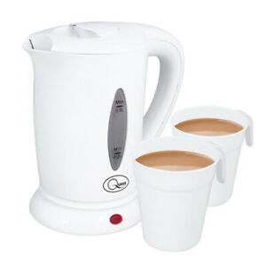 400ML DUAL VOLTAGE ELECTRIC MINI TRAVEL KETTLE + 2 CUPS FOR USE HOME OR ABROAD