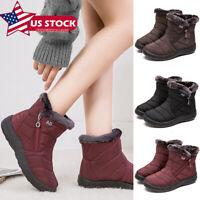 Women Winter Warm Waterproof Booties Snow Boots Fur-lined Slip On Ankle Shoes
