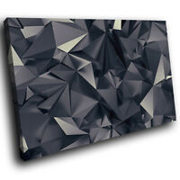 ZAB307 Black Geometric Cool Modern Canvas Abstract Home Wall Art Picture Prints