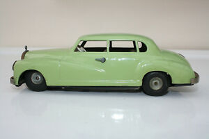 1950s JNF MERCEDES BENZ TINPLATE FRICTION CAR PALE GREEN WESTERN GERMANY PROJECT