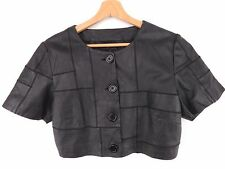 MH897 SAMSOE&SAMSOE LIVA JACKET BOLERO CROP TOP LEATHER ORIGINAL PREMIUM size M