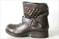 KOAH  Bottines Boots Cuir Marron Foncé Doublées Cuir T 40 TBE
