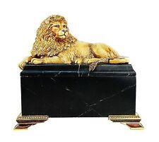 JAY STRONGWATER AMBER JUNGLE LION ON MARBLE BOX ASAD SWAROVSKI NEW ORIGINAL BOX