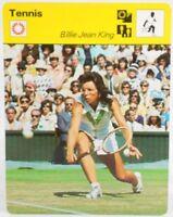 """Billy Jean King 1977 Pro Tennis Sportscaster 6.25"""" Card 08-09 Wimbledon Queen"""