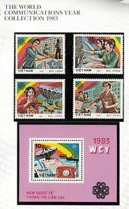 Vietnam. 1983 Communication  set of 4 stamps + Miniature sheet  MUH. going cheap