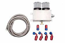 Aluminium Alloy 1200ml -8 AN AN8 Double Baffled Engine Oil Catch Can Kit Silver