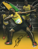WOW L@@K USAIN BOLT SIGNED 11X14 PHOTO AUTHENTIC AUTOGRAPH BECKETT BAS COA 49