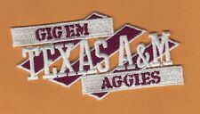 TEXAS A&M 4 1/4 INCH STITCHED GIG EM AGGIES PATCH UNSOLD STOCK WHITE & BURGUNDY