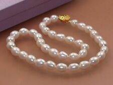 """7-8mm Genuine Natural Rice White Akoya Cultured Pearl 14K GP Clasp Necklace 18"""""""