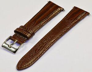 Uhrenarmband echtes Leder Eidechse braun 18 mm neu