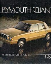 Plymouth Reliant 1984 USA Market Sales Brochure Sedan Wagon SE