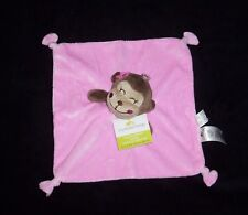 NEW Cuddle Time Pink Girl Monkey Flower Baby Blanket Satin Back Knotted Lovey