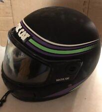 Vintage Artic Cat Snowmobile Helmet Black Green Purple Logo Stripe 1992