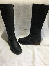 Ladies Long Leg Rieker Black Boots Size 3 With Fleece Lining