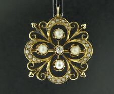 14k Yellow Gold Vintage Mine Cut Diamond Seed Pearl Pendant Pin Brooch PG200