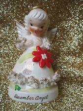 VINTAGE 1950's  NAPCO A1372 DECEMBER ANGEL SPAGHETTI TRIM GOLD ACCENT FIGURINE
