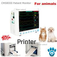 US Veterinary Patient Monitor Vital Signs ICU+Printer,ECG SpO2 Pr NIBP Temp Resp