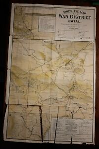 Rare antique BIRD'S EYE MAP of WAR DISTRICT NATAL Boer War Singleton & Sons 1903