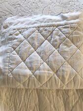 Pottery Barn Belgian Flax Linen Diamond Quilted KING Pillow Sham WHITE EUC