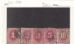 1891 Used Carmine 1-2-3-5-10ct Postage Dues J22-26 SCV=$66