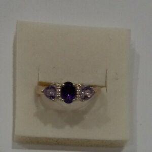 Vintage Solid Sterling Silver 925 Amethyst Gemstone Ring Size 10