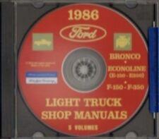 Ford 1986 Bronco, Econoline E150-E350 & F150-F350 Pick Up Truck Shop Manual Cd